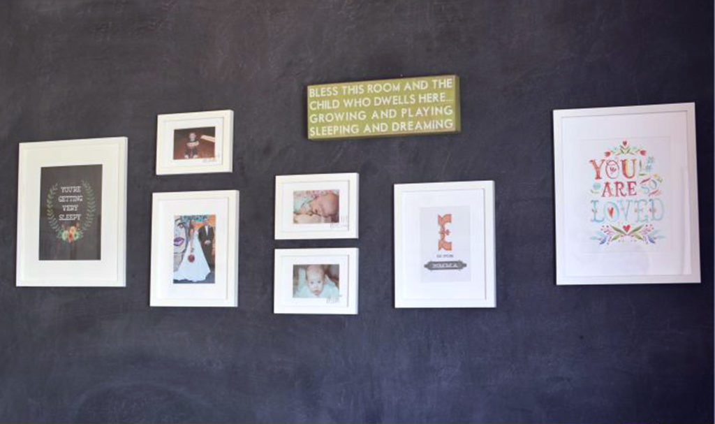 nursery-chalkboard-wall-with-image-gallery-in-white-picture-frames