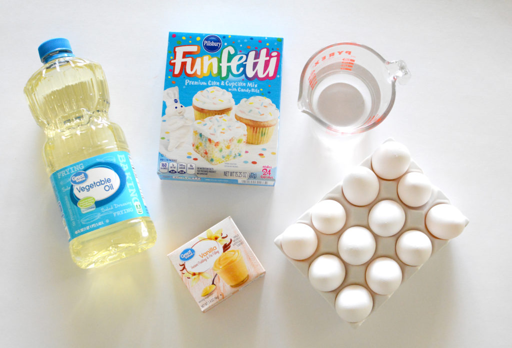 flatlay of ingredients for boxed cake mix hack