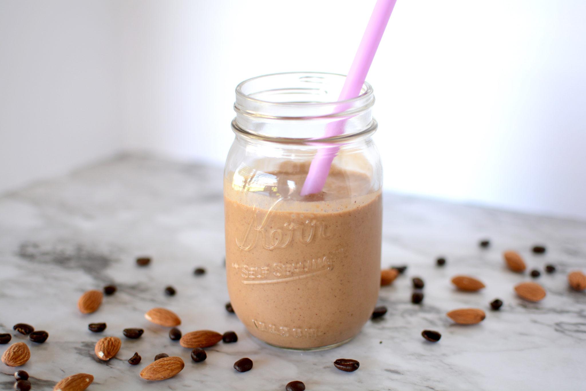 mocha almond protein smoothie