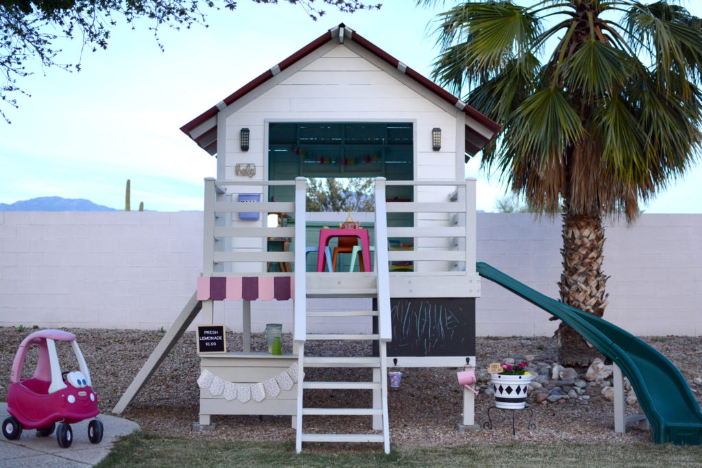 DIY Outdoor Playhouse with Slide