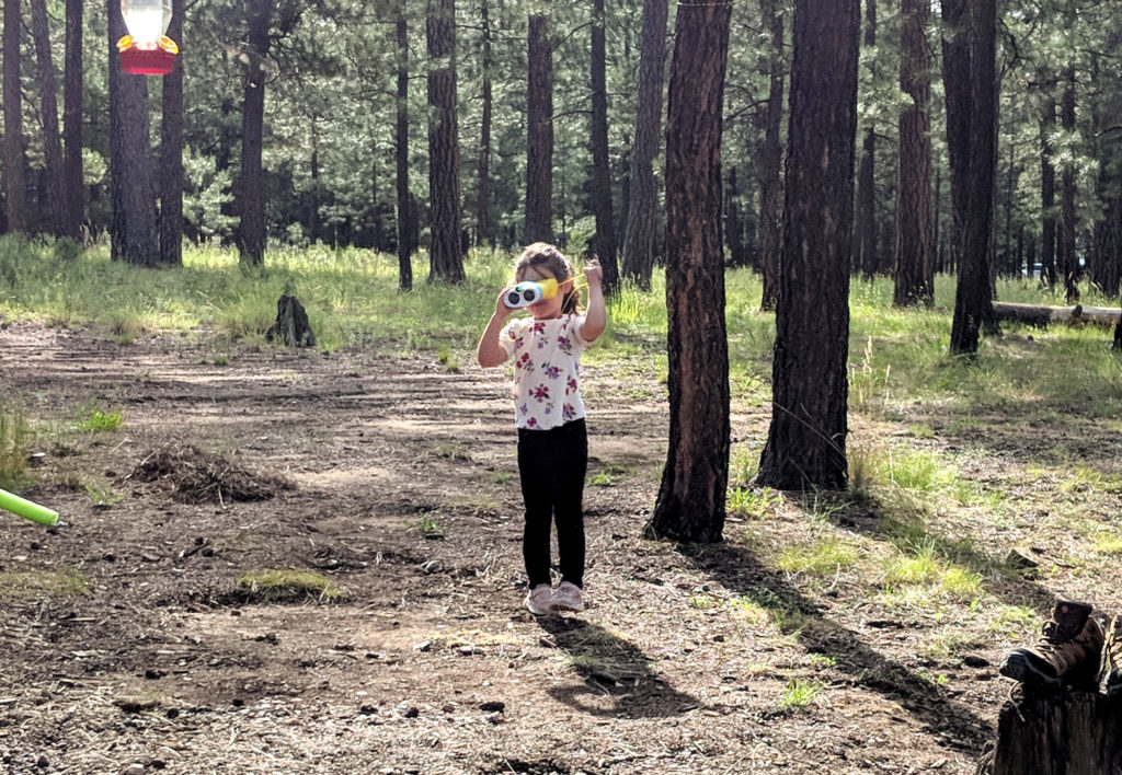 Little girl, in the woods, looking through binoculars